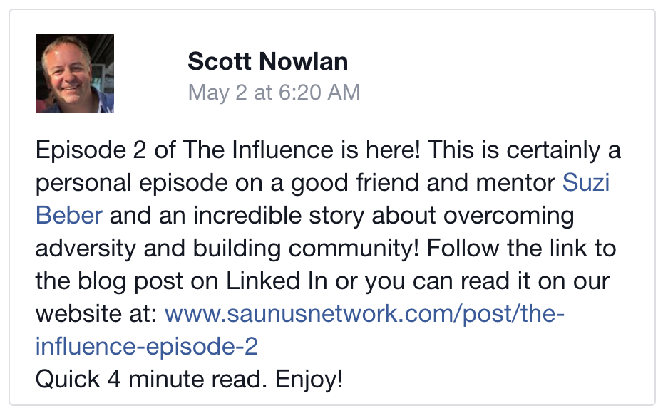Facebook Post: The Influence-Episode 2: Educator & Community Builder. Adversity Killer: Suzi Beber